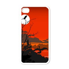 Tropical Birds Orange Sunset Landscape Apple Iphone 4 Case (white) by WaltCurleeArt