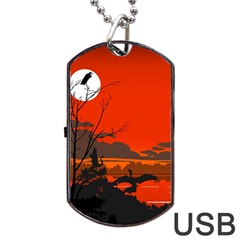Tropical Birds Orange Sunset Landscape Dog Tag Usb Flash (two Sides)  by WaltCurleeArt