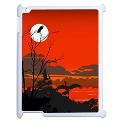 Tropical Birds Orange Sunset Landscape Apple Ipad 2 Case (white)