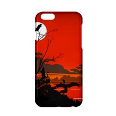 Tropical Birds Orange Sunset Landscape Apple Iphone 6/6s Hardshell Case by WaltCurleeArt
