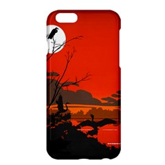 Tropical Birds Orange Sunset Landscape Apple Iphone 6 Plus/6s Plus Hardshell Case by WaltCurleeArt
