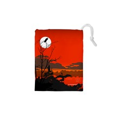 Tropical Birds Orange Sunset Landscape Drawstring Pouches (xs)  by WaltCurleeArt