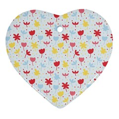 Seamless Colorful Flowers Pattern Heart Ornament (2 Sides) by TastefulDesigns