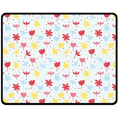 Seamless Colorful Flowers Pattern Double Sided Fleece Blanket (medium)