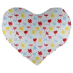 Seamless Colorful Flowers Pattern Large 19  Premium Flano Heart Shape Cushions