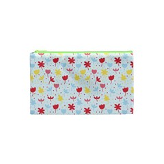 Seamless Colorful Flowers Pattern Cosmetic Bag (xs)