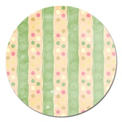 Seamless Colorful Dotted Pattern Magnet 5  (round)