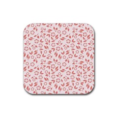 Red Seamless Floral Pattern Rubber Square Coaster (4 Pack)