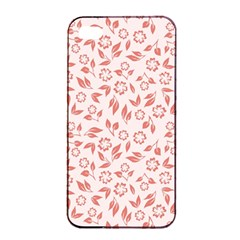 Red Seamless Floral Pattern Apple Iphone 4/4s Seamless Case (black)