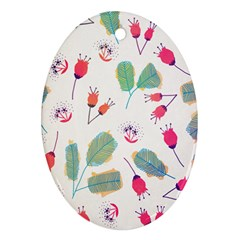 Hand Drawn Flowers Background Oval Ornament (two Sides) by TastefulDesigns