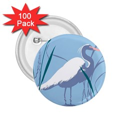 Egret 2 25  Buttons (100 Pack)  by WaltCurleeArt