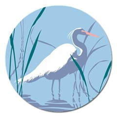 Egret Magnet 5  (round) by WaltCurleeArt
