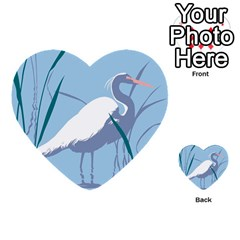 Egret Multi Purpose Cards (heart)  by WaltCurleeArt