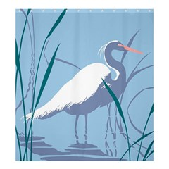 Egret Shower Curtain 66  X 72  (large)  by WaltCurleeArt