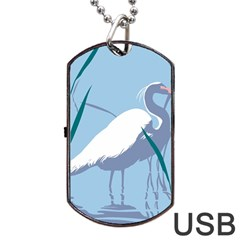 Egret Dog Tag Usb Flash (one Side) by WaltCurleeArt
