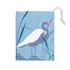 Egret Drawstring Pouches (large)  by WaltCurleeArt