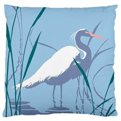 Egret Large Flano Cushion Case (one Side) by WaltCurleeArt