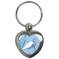 Egret Key Chains (heart)  by WaltCurleeArt