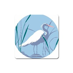 Egret Square Magnet by WaltCurleeArt