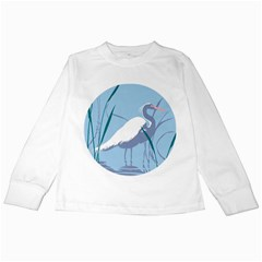 Egret Kids Long Sleeve T-shirts by WaltCurleeArt