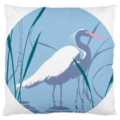 Egret Large Flano Cushion Case (two Sides) by WaltCurleeArt