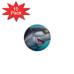 Sharky 1  Mini Buttons (10 Pack)  by WaltCurleeArt