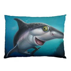 Sharky Pillow Case (two Sides) by WaltCurleeArt