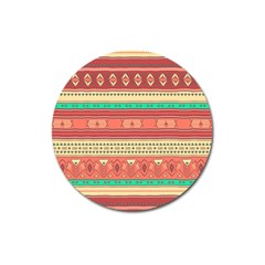 Hand Drawn Ethnic Shapes Pattern Magnet 3  (round)