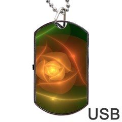 Orange Rose Dog Tag Usb Flash (two Sides)  by Delasel