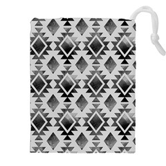 Hand Painted Black Ethnic Pattern Drawstring Pouches (xxl)