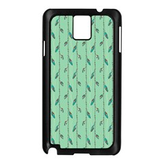 Seamless Lines And Feathers Pattern Samsung Galaxy Note 3 N9005 Case (black) by TastefulDesigns