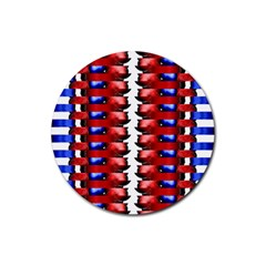 The Patriotic Flag Rubber Coaster (round)  by SugaPlumsEmporium