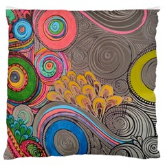 Rainbow Passion Large Flano Cushion Case (two Sides) by SugaPlumsEmporium