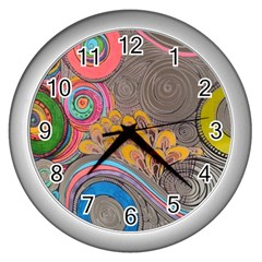 Rainbow Passion Wall Clocks (silver)  by SugaPlumsEmporium