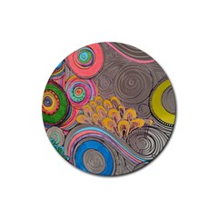 Rainbow Passion Rubber Round Coaster (4 Pack)  by SugaPlumsEmporium