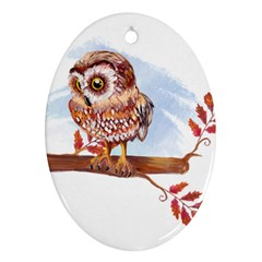 Owl Ornament (oval)  by TastefulDesigns