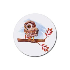 Owl Rubber Round Coaster (4 Pack)  by TastefulDesigns