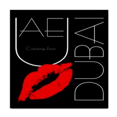 Greetings From Dubai  Red Lipstick Kiss Black Postcard Uae United Arab Emirates Tile Coasters