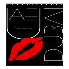 Greetings From Dubai  Red Lipstick Kiss Black Postcard Uae United Arab Emirates Shower Curtain 66  X 72  (large)
