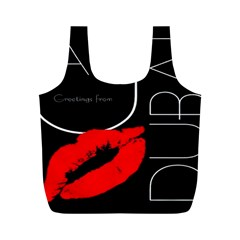 Greetings From Dubai  Red Lipstick Kiss Black Postcard Uae United Arab Emirates Full Print Recycle Bags (m)  by yoursparklingshop