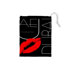 Greetings From Dubai  Red Lipstick Kiss Black Postcard Uae United Arab Emirates Drawstring Pouches (small)  by yoursparklingshop