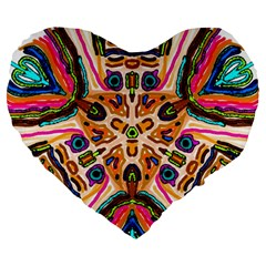 Ethnic You Collecition Large 19  Premium Flano Heart Shape Cushions