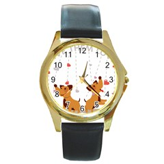Give Them Love Round Gold Metal Watch