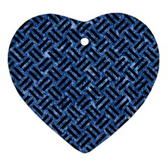Woven2 Black Marble & Blue Marble (r) Ornament (heart)