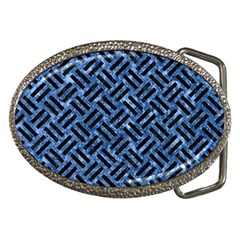 Woven2 Black Marble & Blue Marble (r) Belt Buckle by trendistuff