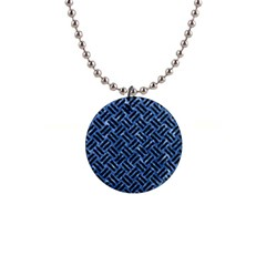Woven2 Black Marble & Blue Marble (r) 1  Button Necklace by trendistuff