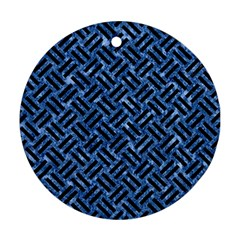 Woven2 Black Marble & Blue Marble (r) Round Ornament (two Sides) by trendistuff