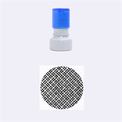 Woven2 Black Marble & Blue Marble (r) Rubber Stamp Round (small)