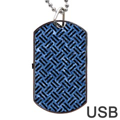 Woven2 Black Marble & Blue Marble (r) Dog Tag Usb Flash (one Side) by trendistuff
