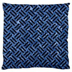 Woven2 Black Marble & Blue Marble (r) Large Cushion Case (two Sides) by trendistuff